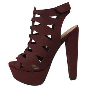 Size 6 Burgundy Open Toe Cutout Platform High Heel